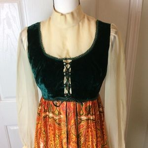 1970s chiffon and velvet dress